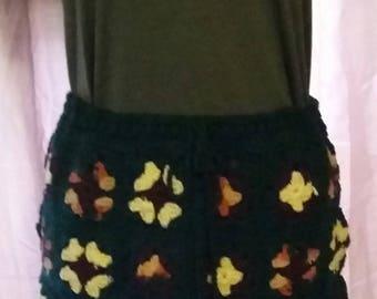 Vintage 1960s style granny square crochet skirt