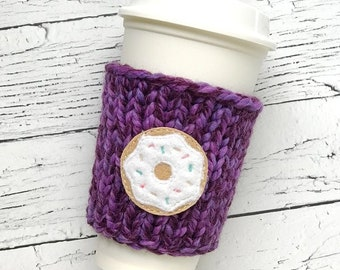 Doughnut Coffee Cozy, Chunky Coffee Cozy, Knit Coffee Cozy, Foodie Gift, Doughnut Applique Coffee Cozy, Mothers Day Gift, Teachers Gift