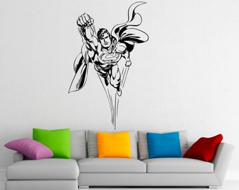 Superman Wall Decal Vinyl Stickers Comics Superhero Interior Home Design  Wall Art Murals Bedroom Decor (