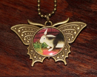 Rabbit Necklace, Carrot, Bunny Jewelry, Animal Lover, Bronze Butterfly Pendant
