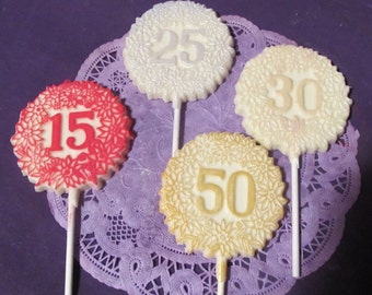 Anniversary Anniversaires 15th 25th 30th 50th chocolate lollipops