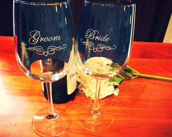 Wedding wine glasses, Bride and Groom,Wedding glasses