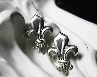 Fleur De Lis Earrings - recycled sterling silver