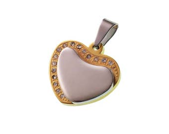 Heart With Stone Pendant/ Stainless Steel Pendant/ For Her