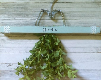 "Repurposed Hanging Herb Drying Rack/Chalk Painted French Blue/Hand Lettered ""Herbs""/ Vintage Farmhouse/ Farm to Table"