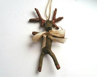 Hirsch Figur, Watte Figur, Watte Ornament, Waldtier Figur, Künstler Figur, Original Kunst, Vintage Style Ornament, Sammler Figur, Elch, Reh