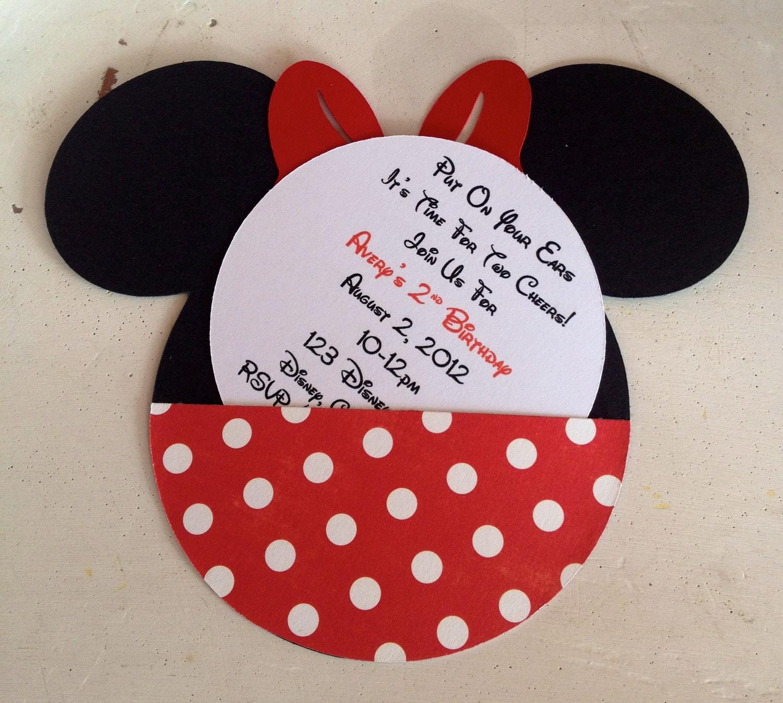 Handmade Custom Red Minnie Mouse Birthday Invitations Set of