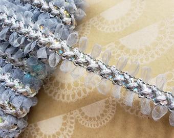 "Silver Gray Sequin Braid Trim - Crafting Ribbon - 3/4"" Wide - 5 Yards"