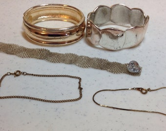 Five Vintage Gold and Silver Bracelets, Bangle Bracelets, Chain Bracelets, and 1 Hand Beaded Bracelet Previously 15 Dollars ON SALE