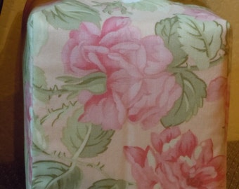 Ready To Ship -  Soft Pink Rose Print  -  Fabric Tissue Box Cover