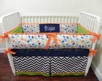 Custom Crib Bedding Set Travis - Boy Baby Bedding, Helicopter Crib Bedding, Navy and Lime Baby Bedding
