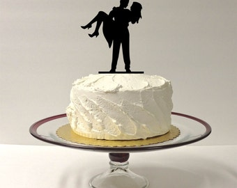 MADE In USA, Cute Silhouette Wedding Cake Topper Bride and Groom Dancing Silhouette Wedding Cake Topper Mr and Mrs Cake Topper