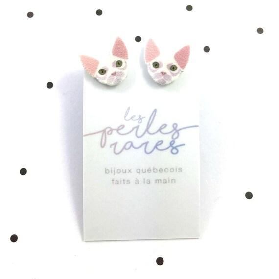 Small, devon rex cat, white, earrings, light, hypoallergenic, plastic, stainless stud, handmade, les perles rares