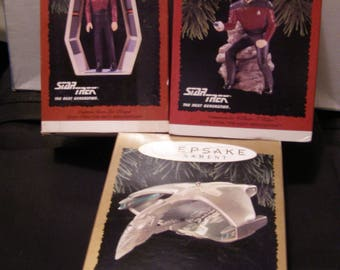 Hallmark Christmas Ornaments - Star Trek Next Generation - Riker, Picard, Romulan Warbird (Magic) in Boxes