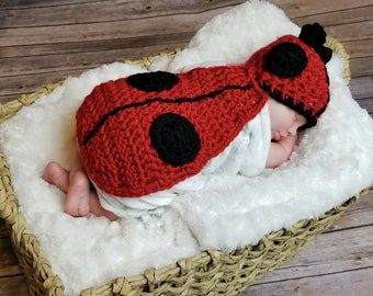 Lady bug infant photo costume newborn ladybug photography prop crochet ladybug outfit
