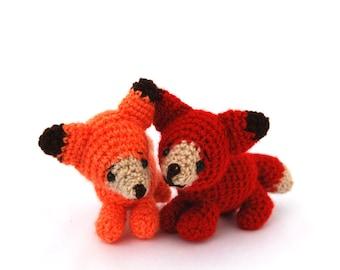 miniature fox, stuffed woodland animal, tiny amigurumi fox, crochet collectible, cuddle cute gift for children,  little animal doll, pocket