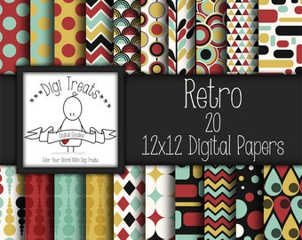30% OFF~Retro Digital scrapbook paper pack, Digital Backgrounds, Scrapbooking, Card Making, Retro Pattern Paper *INSTANT DOWNLOAD*