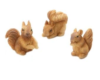 Set of 3 Mini Squirrels  - 1.2 x 1 inches - Fairy Garden - Yard and Garden mini - doll house - terrarium - diorama - miniature