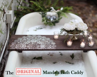 MANDALA BATH CADDY | Customized Bath Caddy | Bath Tub Tray | Tub Caddy | Bath Tray | Housewarming Gift | Home Decor
