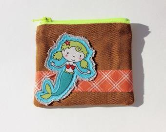 Mermaid Coin Purse  Zippered Pouch