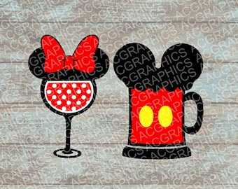 Mickey and Minnie Beer and Wine Glasses SVG, DXF, JPEG, and Studio Downloads