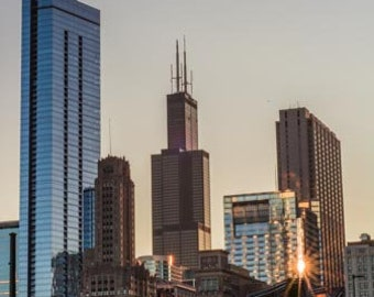 Bright and crisp. Chicago, IL. Photography Print. Portrait. Wall Art. Home Decor. Urban. Nightscape. Look up. Skyline
