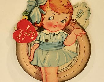 Vintage Mechanical Valentine Card, Girl with Tire, Die Cut Valentine, Red Hair Blue Eyes, Red Hearts, Moveable Card, Circa 1930s