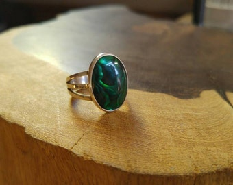 Beautiful Green Abalone Sterling Silver Handmade Ring, Size 7, Quality Made