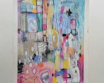 Original Abstract Mixed Media Painting on paper, modern, home decor, interior decor