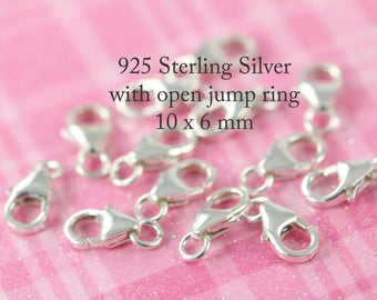 Lobster Clasp , Lobster Claw Clasp Closures 10 units 10 mm - Spring Ring Clasp - 925 Sterling Silver - Bulk Closures