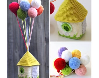 Balloons and House PDF crochet pattern softie, home decor