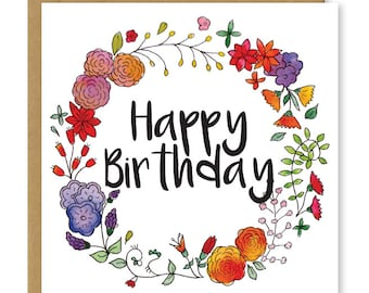 Birthday card | Floral birthday card | Happy birthday flowers
