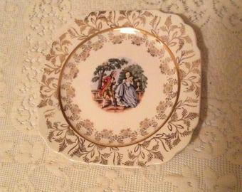 Vintage colonial couple 22 karat Gold plate