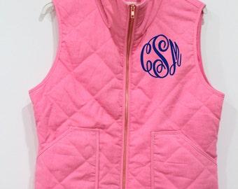 Monogrammed Preppy Pink Quilted Vest
