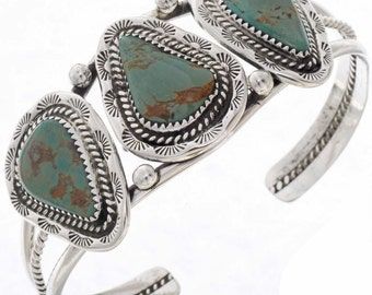 Navajo Green Turquoise Bracelet Hammered Silver Cuff