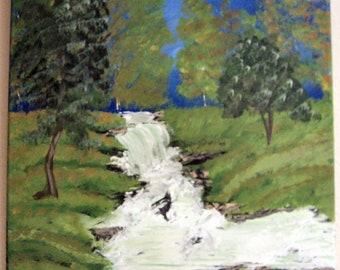 Bubbling Brook painting, bubbling Brook, nature painting, acrylic, canvas painting, stream painting, woods painting, woods, stream, pine tre