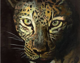 leopard in the dark A4 print on glossy paper