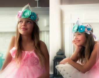 Felt Flower Crown, Felt Birthday Crown, Birthday Flower Crown, Pink Blue Birthday Crown, Pink And Green Crown Photo Prop, Birthday Crown