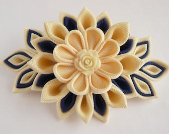 Handmade Kanzashi fabric flower hair comb fascinator- buy in UK,shipping worldwide-ladies women hair accessories