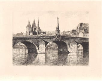 1 Vintage engraving, print, vintage papers, old bridge