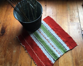 Vintage Handwoven Textile,  Scandinavian Inspired Embroidered Striped Wool Cloth for use as a Rug, Wall Hanging or Make a Pillow Cover