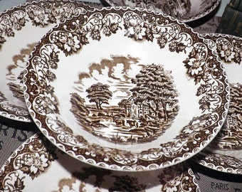 Mid-century (c.1950s) Barratts Elizabethan Brown cereal, soup or salad bowl. Brown transferware farm scene with cows. cottage.