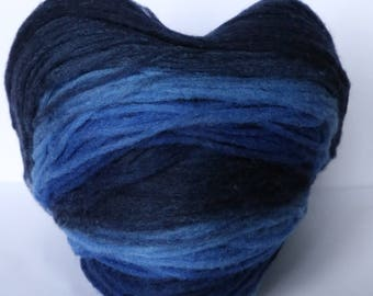 Thin Wool Pencil Roving, Pre-Yarn, Knitting, Spinning or Felting Fiber, Dark Blue, Blue, Light Blue gradient