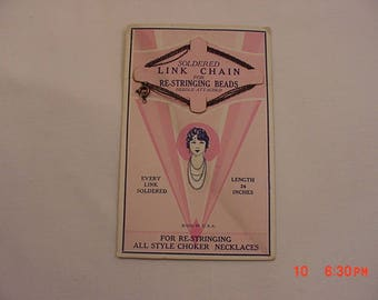 Vintage ONS Soldered Link Chain For Re-Stringing Beads On Original Sales Card  18 - 80