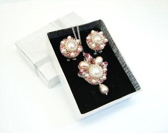 Pink pearl jewelry set beaded swarovski silver earrings swarovski pendant rose pearls