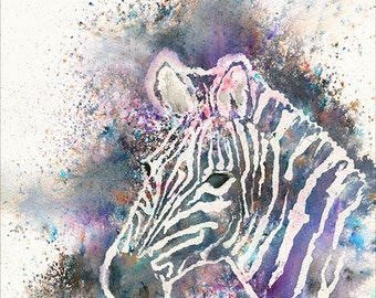 Zebra Portrait Wildlife Art by Emma Steel, Daughter of award winning artist John Silver. Personally signed A4 or A3 Print. ESWI075SP