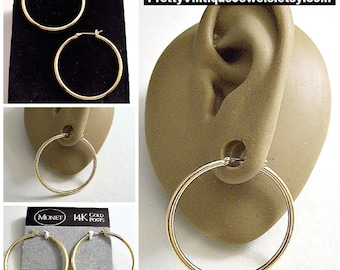 "Monet 14K Gold Post 1 3/8"" Hoops Pierced Stud Earrings Vintage Extra Large 35mm Round Smooth Polished Tube Round Dangle Rings"