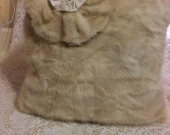 Handmade Shabby Chic White Mink Throw Pillow