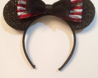 Cute Pirates of The Caribbean Bow inspired Black Sparkle Minnie Mouse Headband Ears