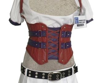 Harley Quinn Arkham Alylum Costume Cincher, Shirt, Skirt